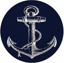 SunnyM Round Area Rugs 4 ft Nautical Navy Blue