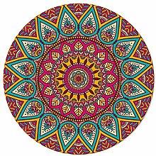 SunnyM Round Area Rugs 6 ft Ethnic Style Mandala