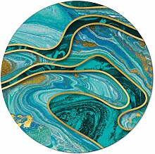 SunnyM Round Area Rugs Teal Green Marble Texture