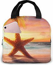 Sunset Afterglow Yellow Starfish Lunch Bag Tote