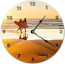 Sunset Over Surfers In The Beach Wooden Wall Clock