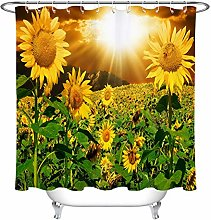 Sunset Sunflowers Field Waterproof Fabric Shower