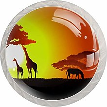 Sunset Two Giraffes with Horses 4 Pack Round ABS