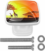 Sunset Two Giraffes with Horses 4PCS Drawer Knobs
