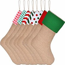 Sunshane 8 Pieces Burlap Christmas Stockings Xmas