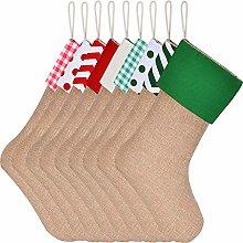 Sunshane 9 Pieces Burlap Christmas Stockings Xmas