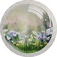 Sunshine Flowers 4Pcs Cabinet Knobs Round Shape