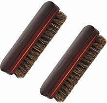 SUNSHINETEK Shoe Brushes 2 Pack Premium Horse Hair