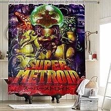 Super Metroid Retro Gaming Fabric Shower Curtain