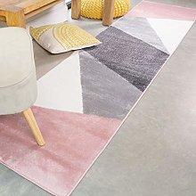 Super Soft Plush Modern Blush Pink Grey Rug Runner