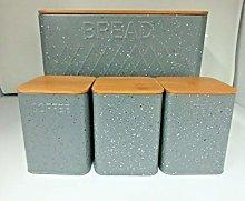 SUPER7 4pcs Food Storage Set Bread Bin Canisters