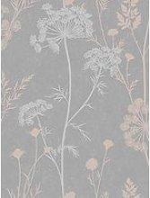 Superfresco Cow Parsley Grey / Rose Gold Wallpaper