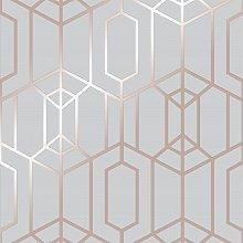 Superfresco Easy Albany Grey & Rose Gold Geometric