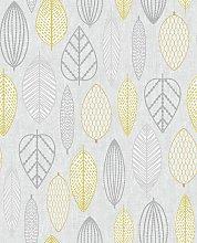 Superfresco Easy Scandi Leaf Yellow Wallpaper