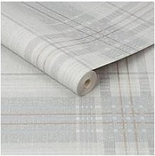 Superfresco Rhea Plaid Grey/Rose Gold Wallpaper