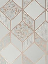 Superfresco Vittorio Geo Grey/Rose Gold Wallpaper