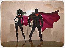Superhero Bath Mat, Super Woman and Man Heroes in