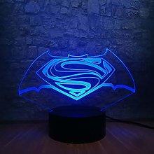 Superhero Logo 3D Led Night Light USB Bulb Figure