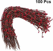 SUPVOX Pack of 100 Individual Red Pip Berry Stems