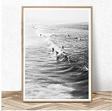 Surf Poster California Wall Art Black and White