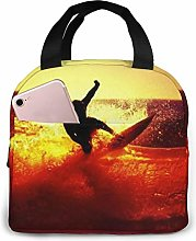 Surfer On A Wave Surfing Sunset Lunch Bag,Reusable