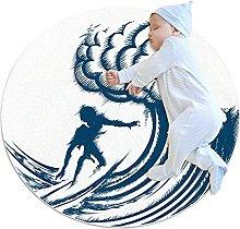 Surfer riding big wave, Round Rug Throw Area Rug