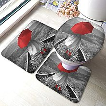 Surreal Bathmat,Girl With A Red Umbrella On The