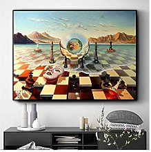Surreal City Chess Wall Art Canvas Painting Poster