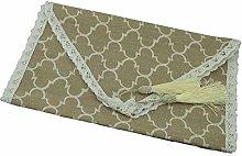 Sushandadian Table Runner Linen Cotton Lace Tassel