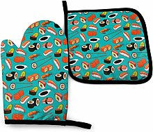 Sushi Shrimp Food Pattern Non-Slip Oven Gloves And