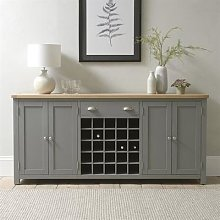 Sussex Storm Grey Extra Large Sideboard with Wine