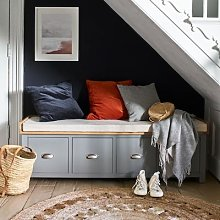 Sussex Storm Grey Four Drawer Shoe Bench with