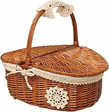 Suszian H-Woven Picnic Basket Storage Basket,