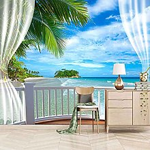 SUUKLI Modern Photo Wallpaper Blue Balcony with