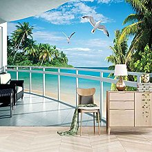 SUUKLI Photo Wallpaper 350X256Cm Balcony with Sea