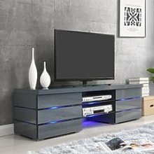 Svenja Media TV Stand In High Gloss Grey With Blue
