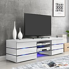 Svenja Media TV Stand in High Gloss White With LED
