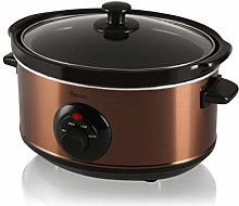 Swan 3.5 Litre Oval Copper Slow Cooker, 3 Cooking