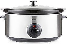 Swan 6.5 Litre Oval Stainless Steel Slow Cooker