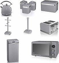 Swan GREY Kitchen Appliance Retro Set of 10