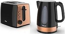 Swan Kettle And 2-Slice Toaster Twin Pack - Black