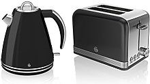 Swan Kitchen Appliance Retro Set - Black 1.5 Litre