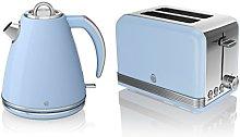 Swan Kitchen Appliance Retro Set - Blue 1.5 Litre