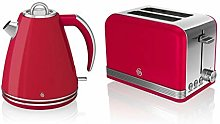 Swan Kitchen Appliance Retro Set - Red 1.5 Litre