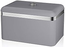 Swan Retro Bread Bin, Metal, Grey, 18 Litre