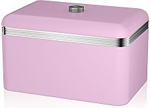 Swan Retro Bread Bin, Metal, Pink, 18 Litre