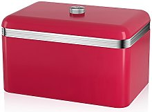 Swan Retro Bread Bin, Metal, Red, 18 Litre Storage