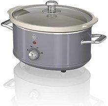 Swan Retro Grey 3.5 Litre Slow Cooker3 Temperature