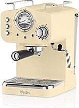 Swan Retro Pump Espresso Coffee Machine, Cream, 15
