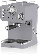 Swan Retro Pump Espresso Coffee Machine, Grey, 15
